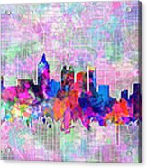 Atlanta Skyline Watercolor 4 Acrylic Print