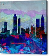 Atlanta Watercolor Skyline Acrylic Print