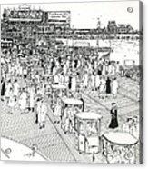 Atlantic City Boardwalk 1940 Acrylic Print