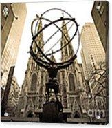 Atlas At Rockefeller Center Back Side Acrylic Print