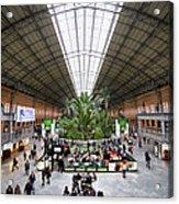 Atocha Railway Station Interior In Madrid Acrylic Print
