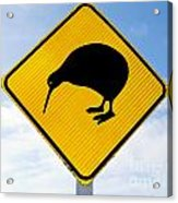 Attention Kiwi Crossing Road Sign Acrylic Print