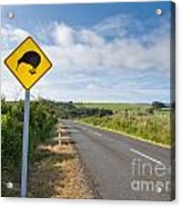 Attention Kiwi Crossing Roadsign At Nz Rural Road Acrylic Print
