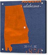 Auburn University Tigers Auburn Alabama College Town State Map Poster Series No 016 Acrylic Print