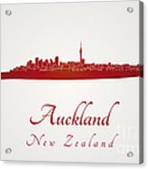 Auckland Skyline In Red Acrylic Print