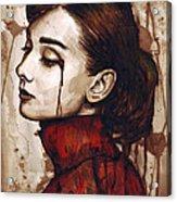 Audrey Hepburn - Quiet Sadness Acrylic Print by Olga Shvartsur