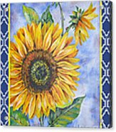 Audrey's Sunflower With Boarder Acrylic Print