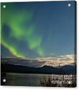 Aurora Borealis Moon-lit Clouds Over Lake Laberge Acrylic Print