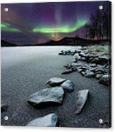 Aurora Borealis Over Sandvannet Lake Acrylic Print