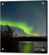Aurora Borealis Reflected On Lake Laberge Yukon Acrylic Print