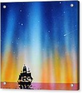 Aurora Borealis with tall ship Acrylic Print