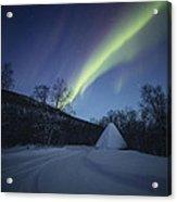 Aurora On A Blue Night Sky Acrylic Print