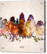 Austin Painted City Skyline Acrylic Print