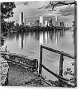 Austin Texas Skyline Lou Neff Point In Black And White Acrylic Print