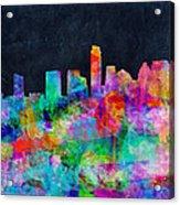 Austin Watercolor Panorama Acrylic Print