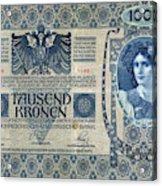 Austria Banknote, 1902 Acrylic Print