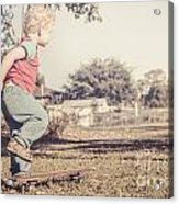 Authentic Faded Brown Vintage Skater Child Acrylic Print
