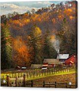 Autumn - Barn - The End Of A Season Acrylic Print by Mike Savad