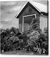 Autumn Barn - Upclose Cropped - Black And White Acrylic Print