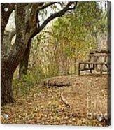 Autumn Bench Acrylic Print
