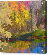 Autumn Beside The Pond Acrylic Print