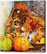 Autumn Display - Pumpkins On A Porch Acrylic Print