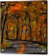 Autumn Drive Freedom And Beauty Acrylic Print