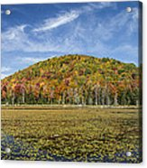 Serene Pond Vermont Autumn Panorama Acrylic Print