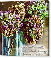 Autumn Hydrangeas Photoart With Verse Acrylic Print