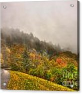 Autumn Just Around The Bend Blue Ridge Parkway In Nc Acrylic Print