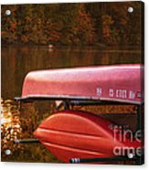 Autumn Kayaks On Newport Lake Acrylic Print