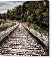 Autumn On The Railroad Tracks Acrylic Print