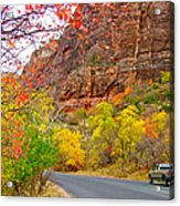 Autumn On Zion Canyon Scenic Drive In Zion National Park-utah  Acrylic Print