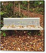 Autumn Park Bench Acrylic Print