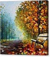 Autumn Park - Palette Knife Oil Painting On Canvas By Leonid Afremov Acrylic Print