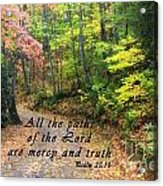 Autumn Path With Scripture Acrylic Print