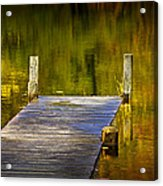 Autumn Reflections And Boat Dock On A Pond Near Yankee Springs Michigan Acrylic Print