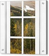Autumn Rocky Mountain Glacier View Through A White Window Frame  Acrylic Print