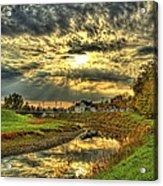 Autumn Sunset Reflection Acrylic Print by Jim Lepard