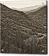 Autumn Valley Sepia Acrylic Print