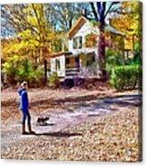 Autumn - Walking The Dog Acrylic Print