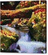 Autumn Waterfall Canvas Acrylic Print