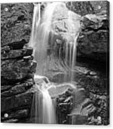 Avalanche Falls In Flume Gorge - Black And White Acrylic Print