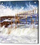 Avalon Rockpool With Crashing Waves Acrylic Print