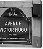 Avenue Victor Hugo Paris Road Sign Acrylic Print