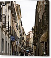 Avila Street Blue Umbrella Acrylic Print