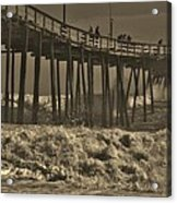 Avon Pier Stormy Sepia 3 10/13 Acrylic Print