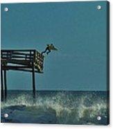 Avon Pier Surfers Leap 1 1/19 Acrylic Print