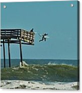 Avon Pier Surfers Leap 2 1/19 Acrylic Print