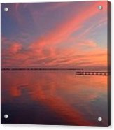 Awesome Fiery Red Clouds At Dusk Reflected On Dead Calm Santa Rosa Sound Acrylic Print